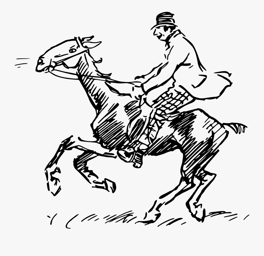 Clip Art Man Riding An Vector - Old Drawing Of Man On Horse, Transparent Clipart