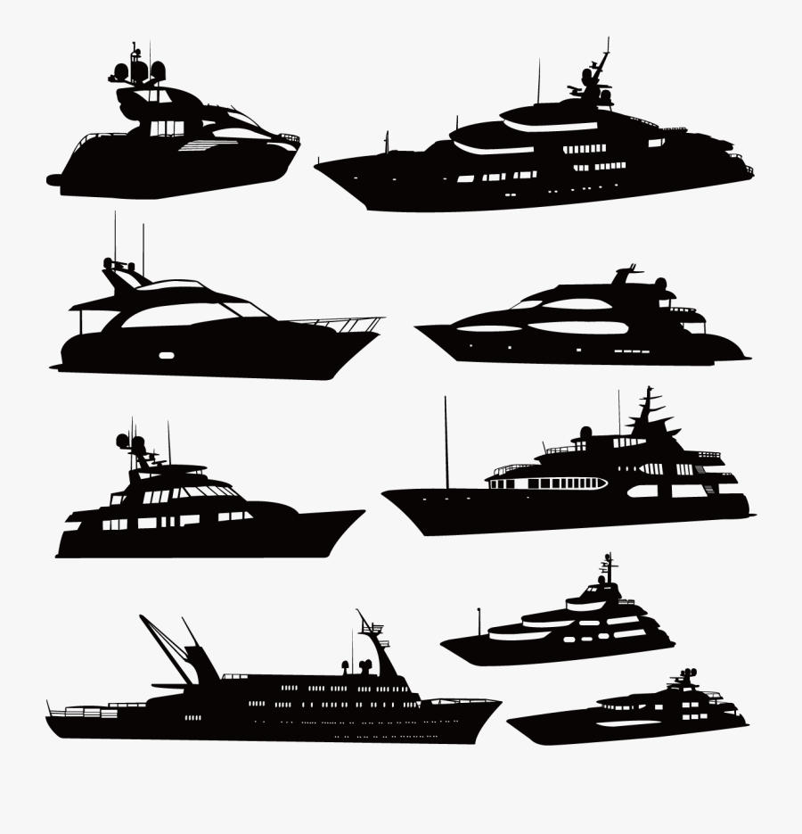 Luxury Yacht Silhouette Boat - Yacht Silhouette, Transparent Clipart