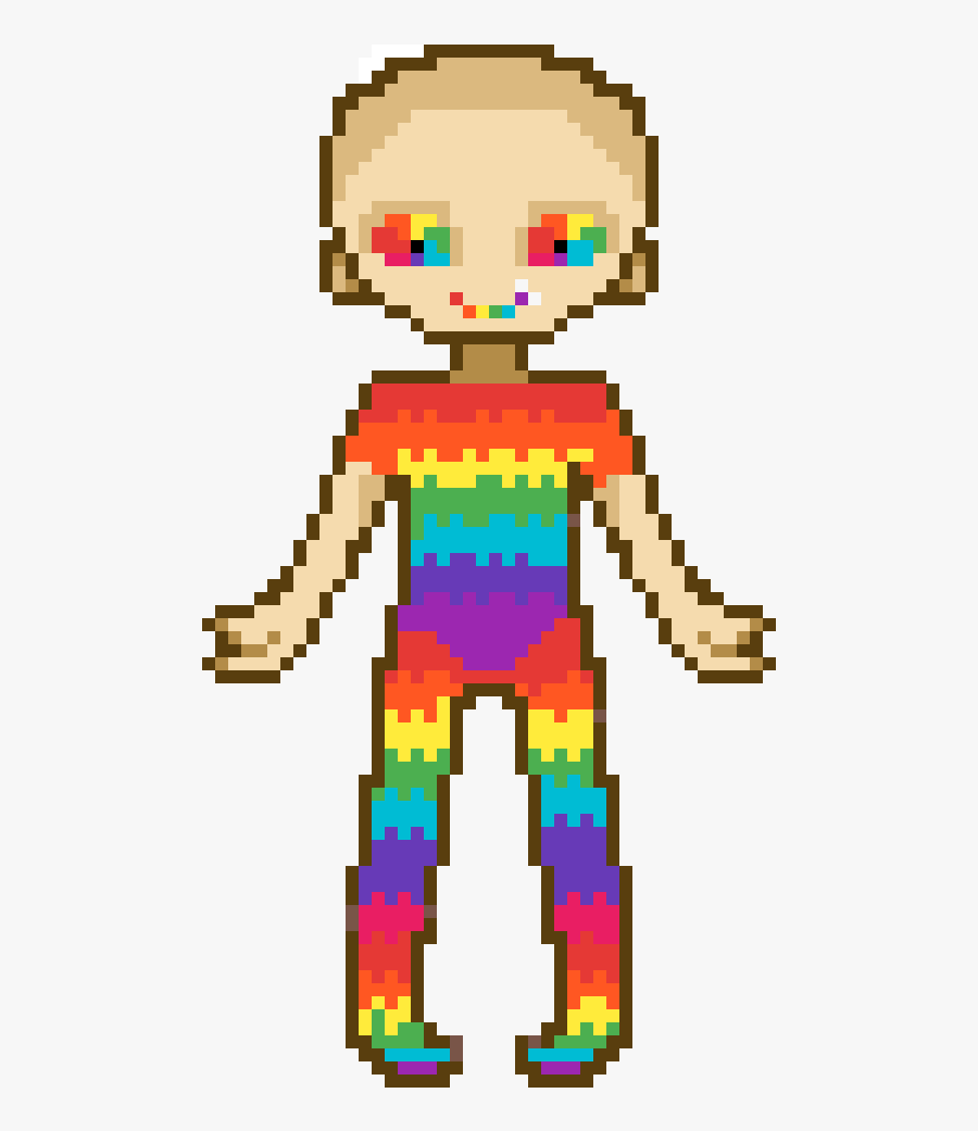 Rainbow Cancer Girl - Grid Minecraft Pixel Art, Transparent Clipart