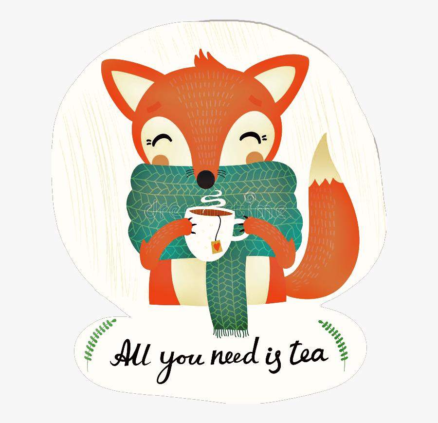 #fox #tea #autumn #fall #hugge #teatime - All You Need Is A Tea Fox, Transparent Clipart