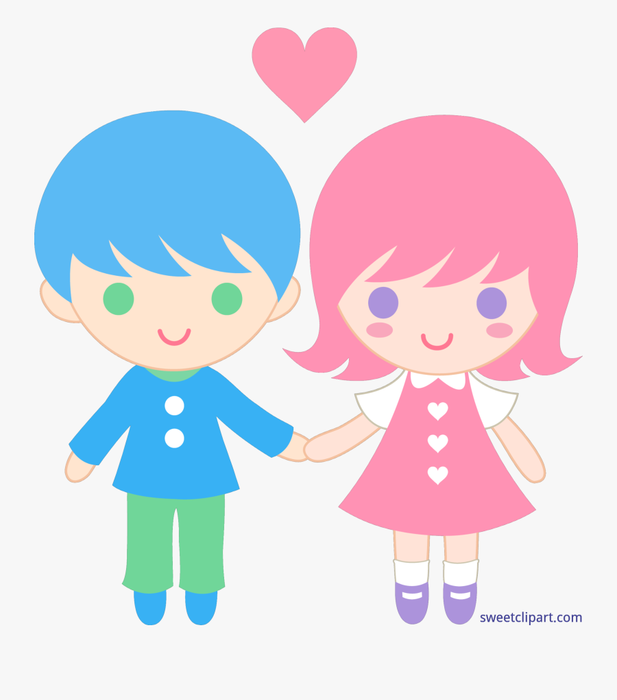 Transparent Kid Valentine Clipart - Girl And Boy Animated Png, Transparent Clipart
