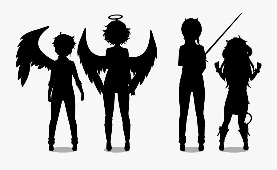 Silhouette Angels - Demons Silhouette, Transparent Clipart