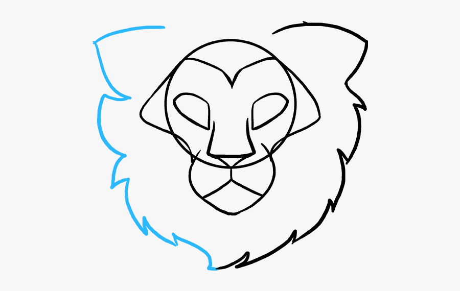 Clip Art Head Really Easy Drawing - Lion Face To Draw, Transparent Clipart