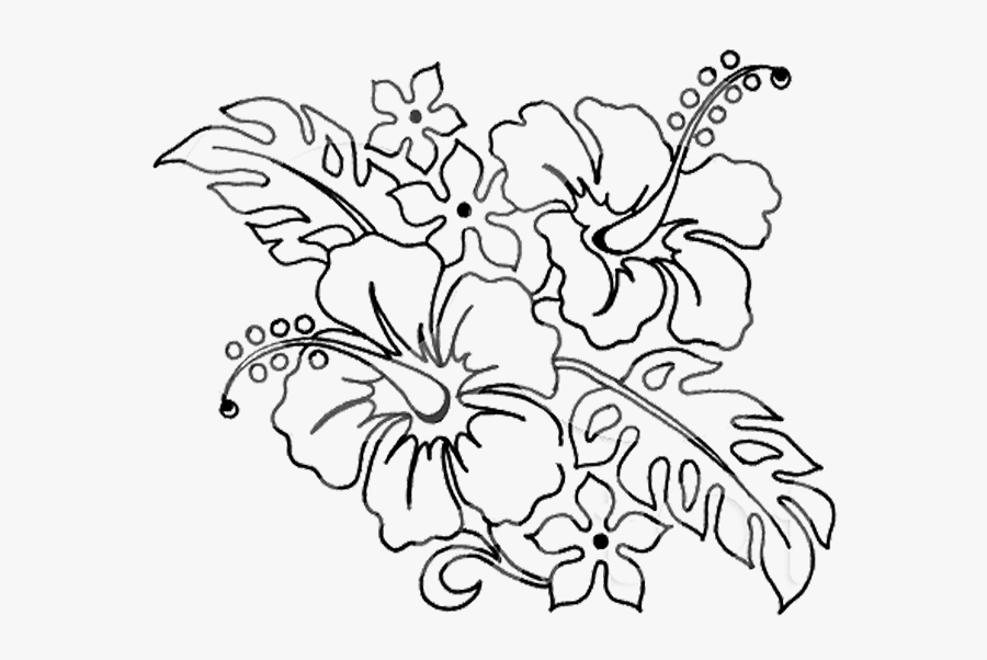 Flower Pen Drawing - Flowers Drawings For Coloring, Transparent Clipart