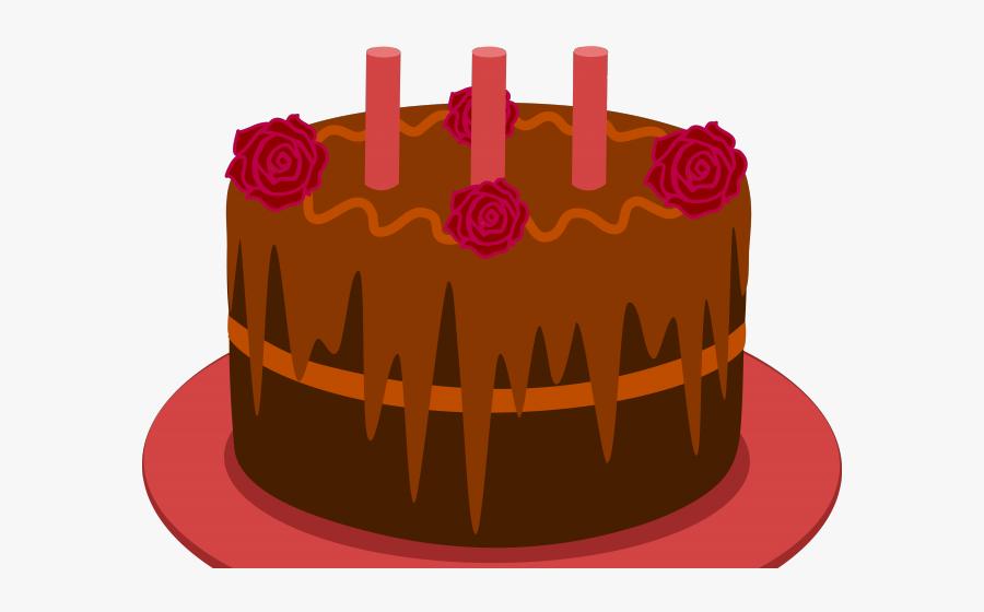 Chocolate Birthday Cake Cartoon, Transparent Clipart