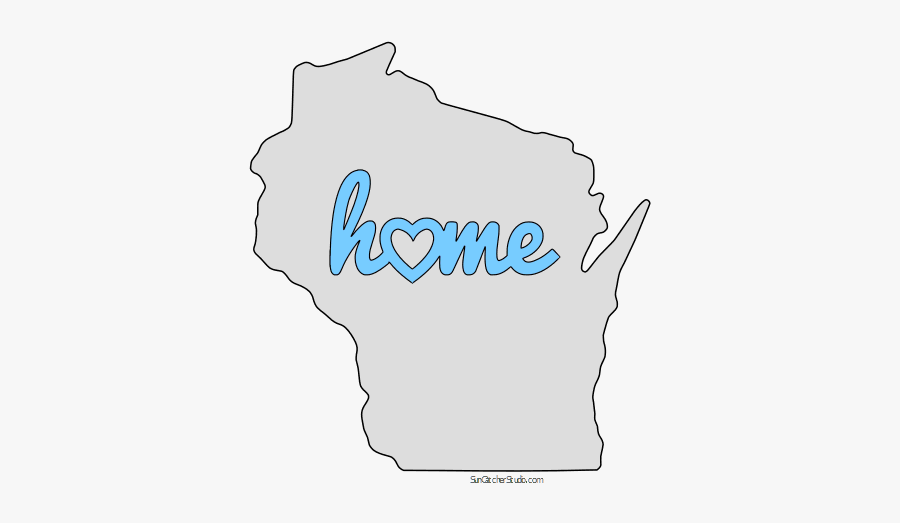 Wisconsin Home Heart Stencil Pattern Template Shape - Landscape Map Of Wisconsin, Transparent Clipart