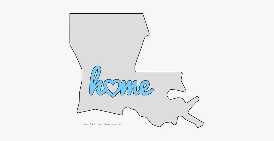 Louisiana Home Heart Stencil Pattern Template Shape - Cut Out Louisiana Template, Transparent Clipart