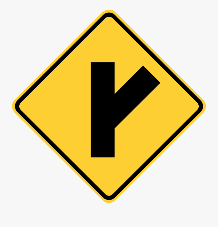 Acute Angle Road Sign, Transparent Clipart