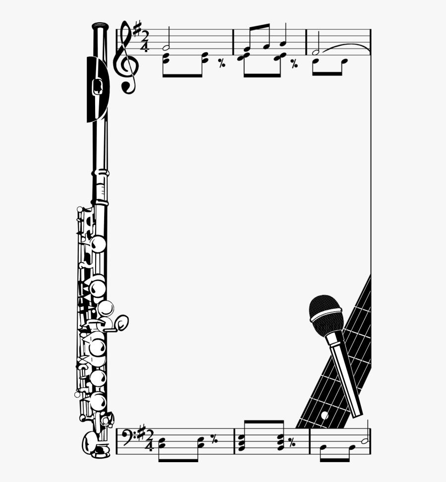 Music Note Border, Transparent Clipart