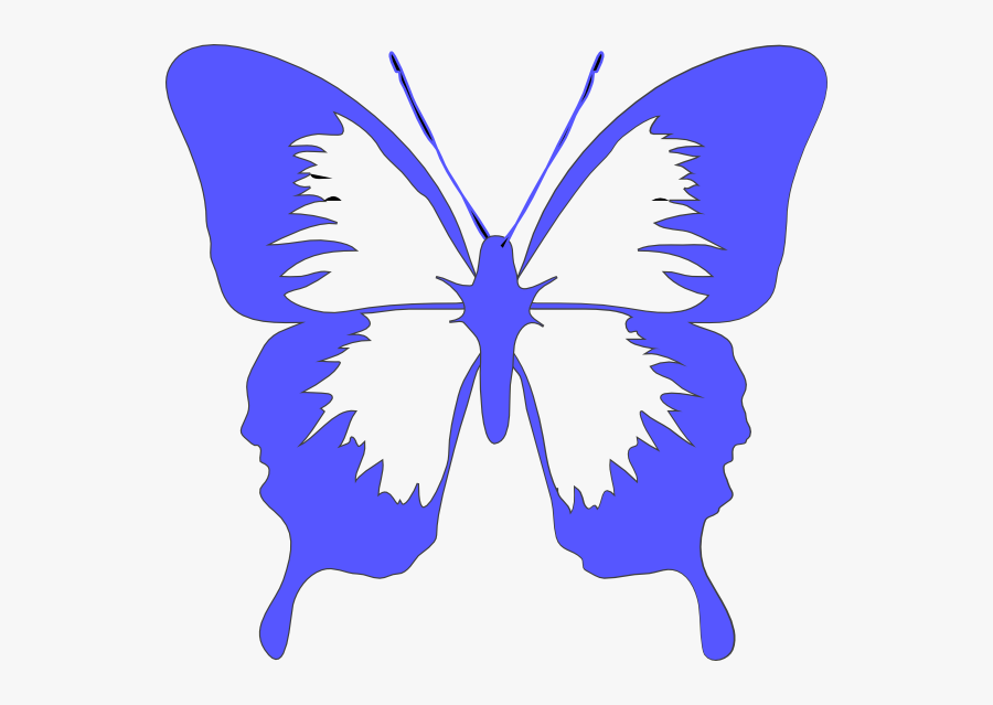 Butterfly Light Blue Clip Art At Clker - Butterfly Png Black And White, Transparent Clipart