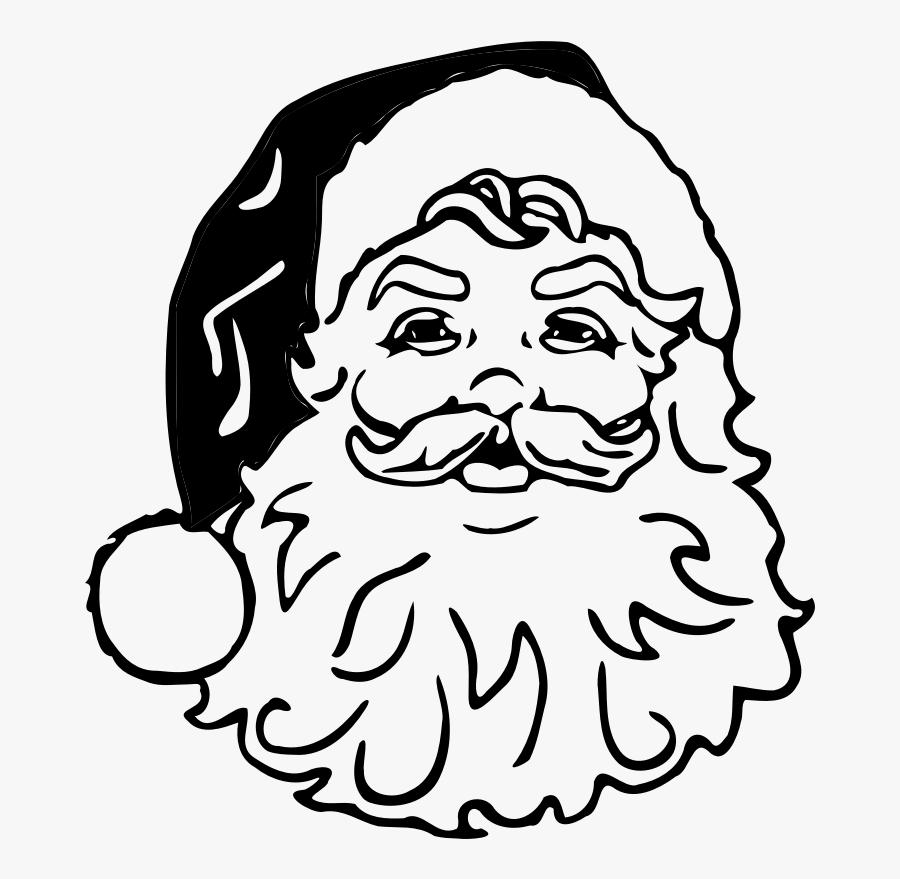 Black Transparent Santa - Santa Claus Black And White Clipart, Transparent Clipart