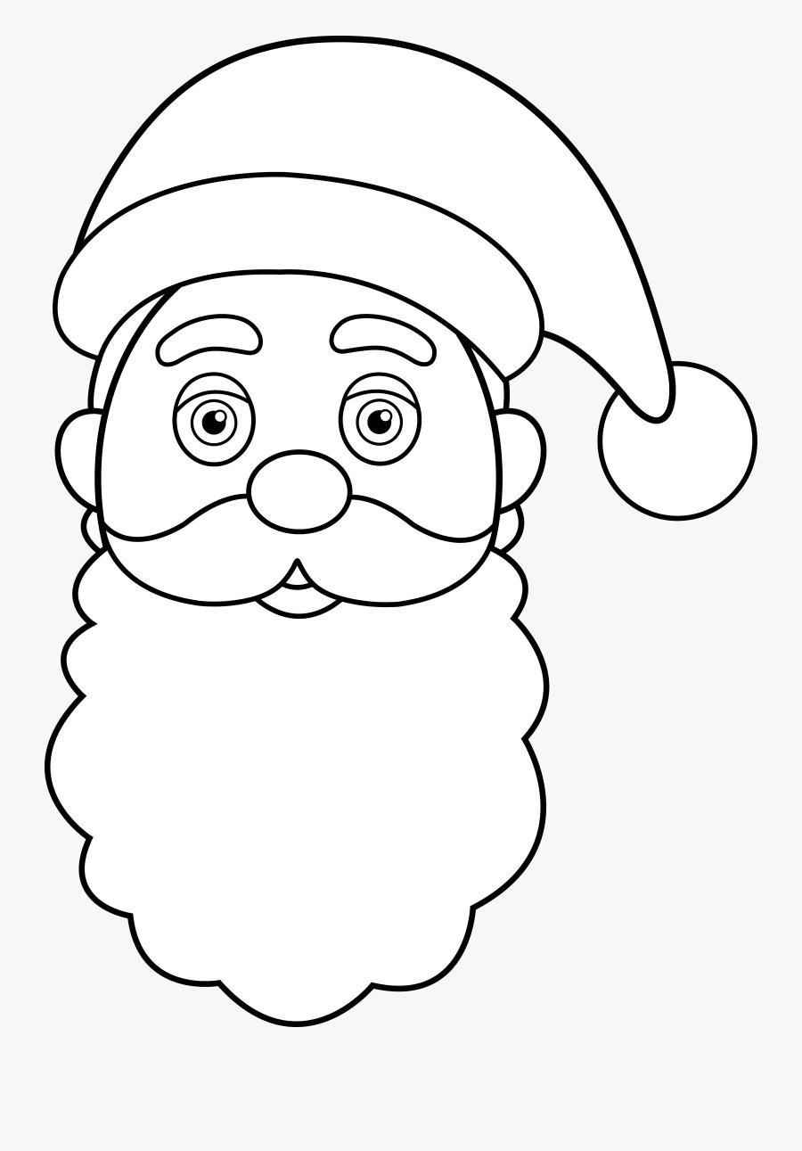 Line Art Of Santa Claus Face - Santa Claus Face, Transparent Clipart