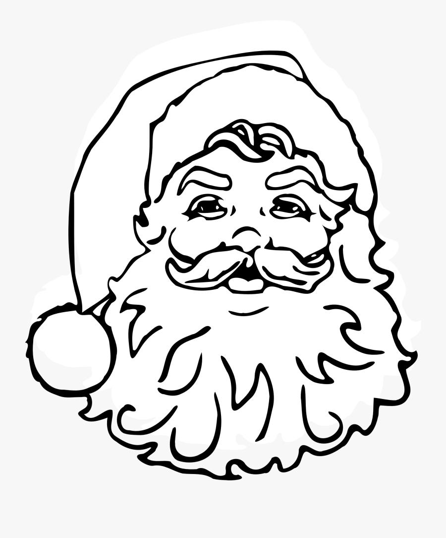Transparent Beard Clip Art - Santa Png Black And White, Transparent Clipart