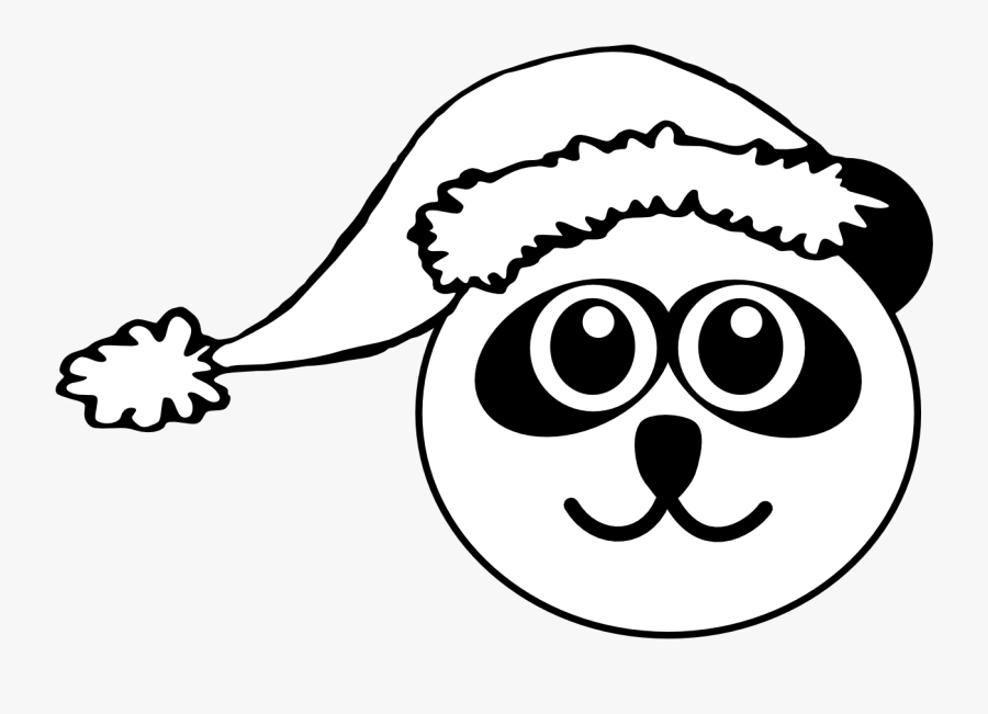 Santa Hat Clipart Head - Panda Christmas Coloring Pages, Transparent Clipart