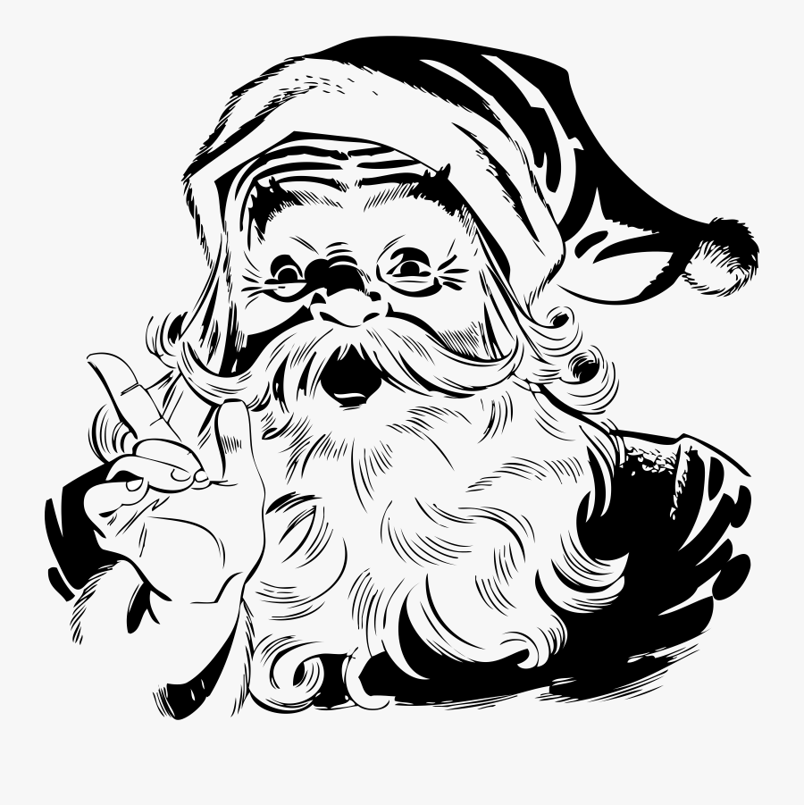 Santa Claus Black And White, Transparent Clipart