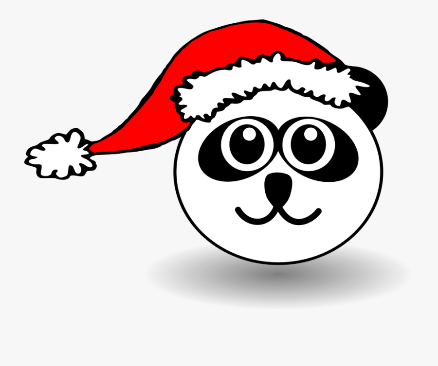 Free Vector Funny Panda Face Black And White With Santa - Clipart Cat With Santa Hat, Transparent Clipart