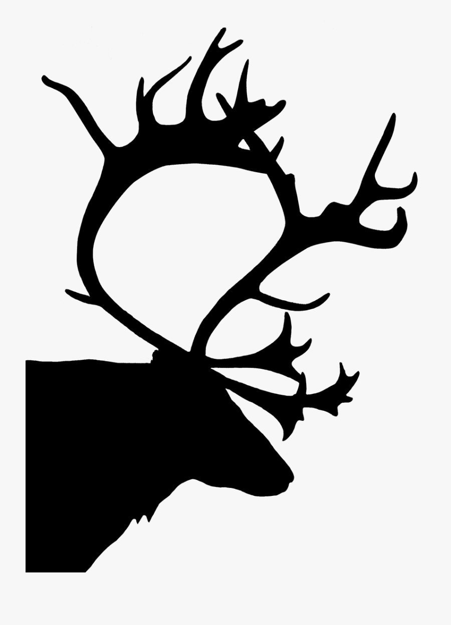 Reindeer Head Silhouette - Black And White Christmas Silhouettes, Transparent Clipart