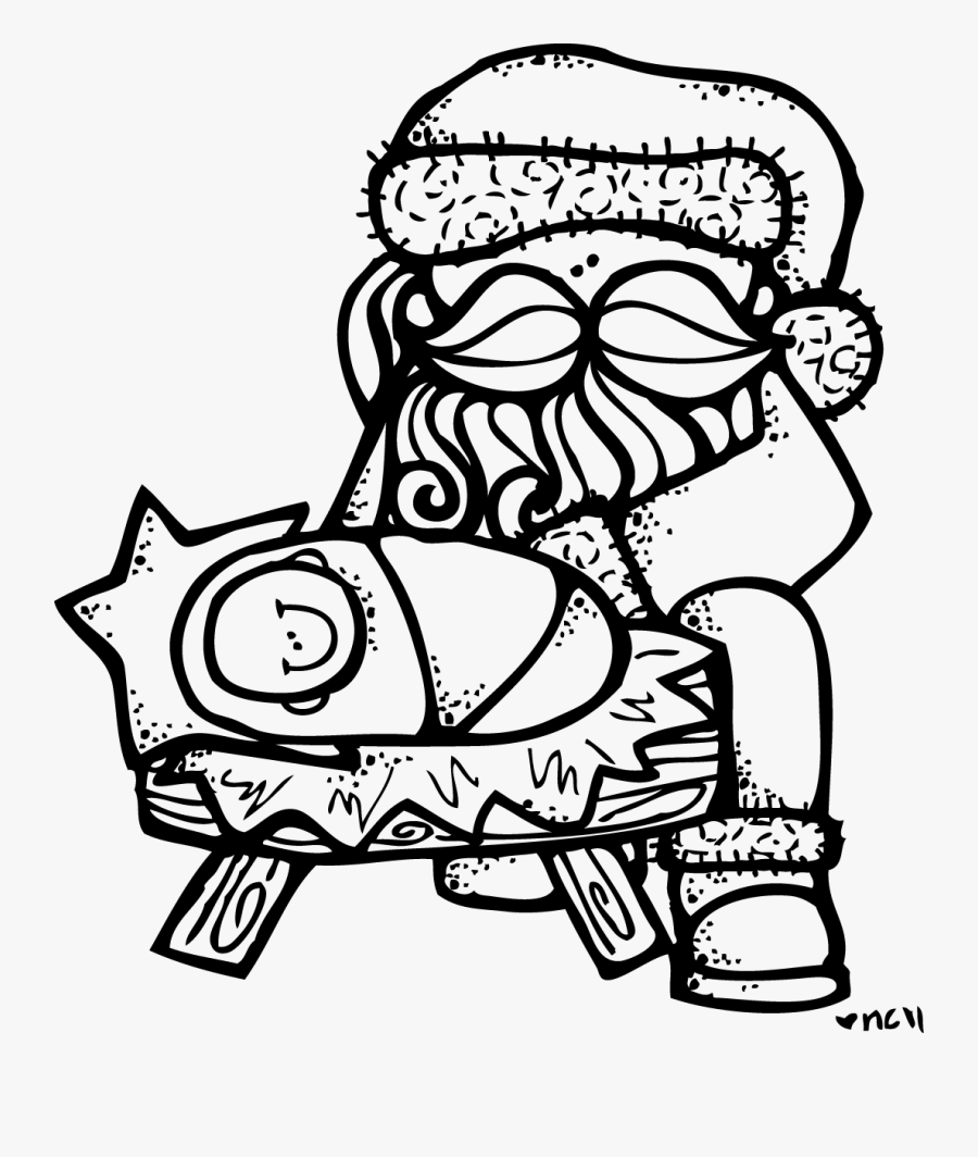 Santa And Jesus Coloring Page, Transparent Clipart