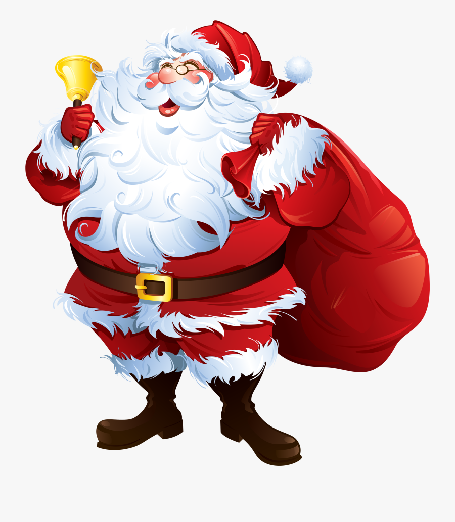 Santa Claus With Bell And Bag Png Clipart - Santa Claus Png Hd, Transparent Clipart