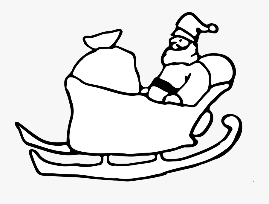 28 Collection Of Sleigh Clipart Black And White - Draw Santa In Sleigh, Transparent Clipart