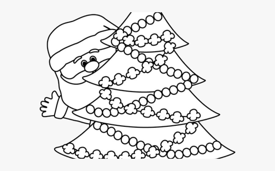 Transparent Santa Clipart Black And White - Drawing Clipart Christmas Tree Black And White, Transparent Clipart