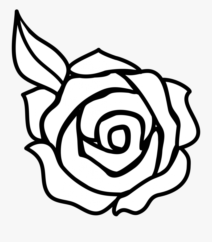 Flower Black And White Rose Flower Clipart Black And - Simple Rose Draw Easy, Transparent Clipart