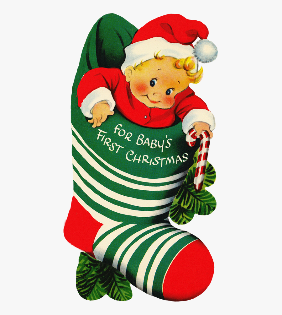 """Baby""""s First Christmas In Sock - Baby's First Christmas Art, Transparent Clipart"""