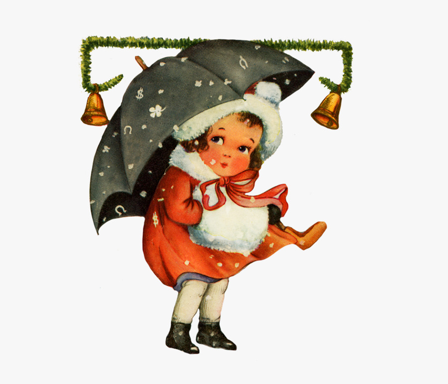 Vintage Christmas Clip Art Girl Snow - Vintage Christmas Art Png, Transparent Clipart