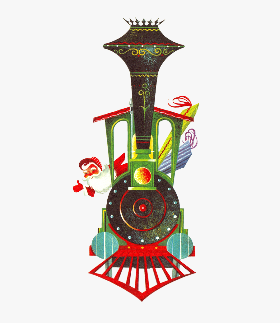 Vintage Graphic Of Christmas Train - Transparent Background Christmas Train, Transparent Clipart