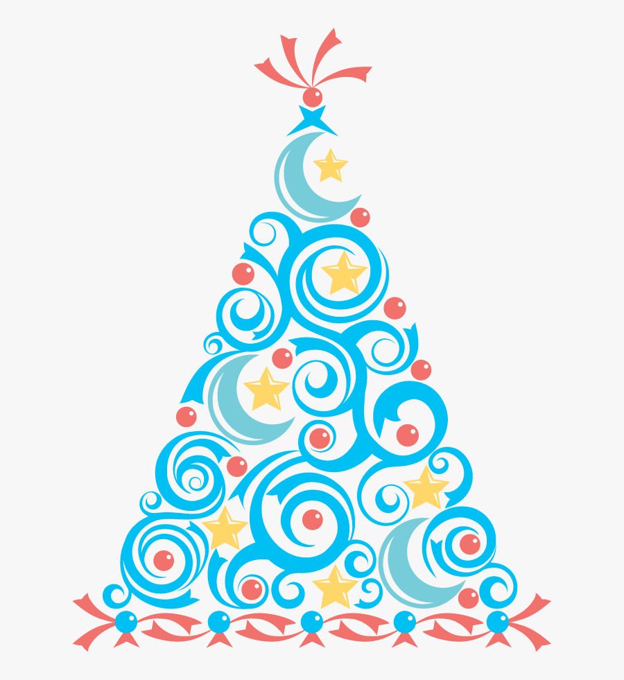 Holiday Party Clip Art - Blue Christmas Tree Clipart, Transparent Clipart