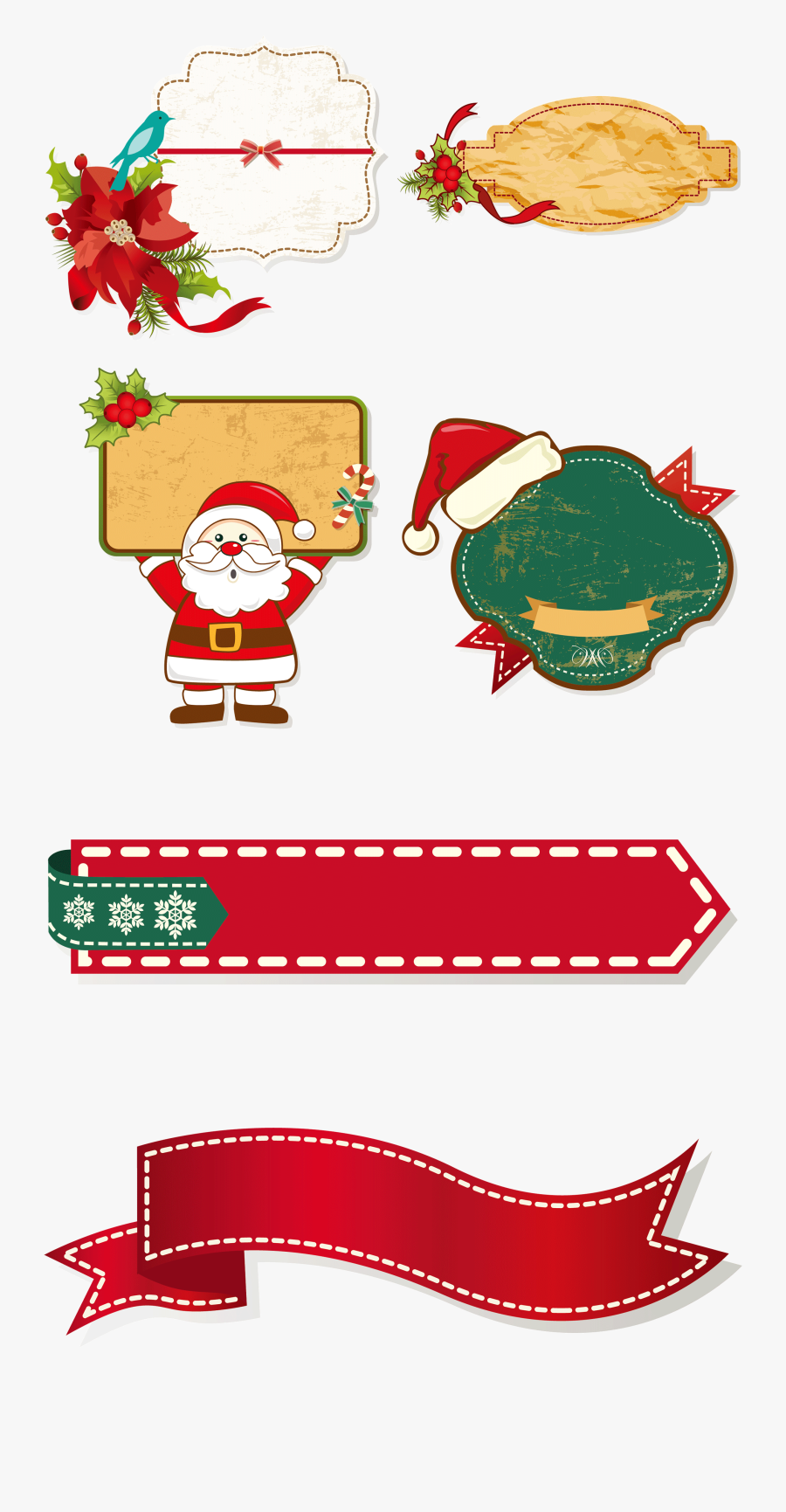 Claus Christmas Decoration Cartoon Collection - Santa Claus Borders Christmas, Transparent Clipart