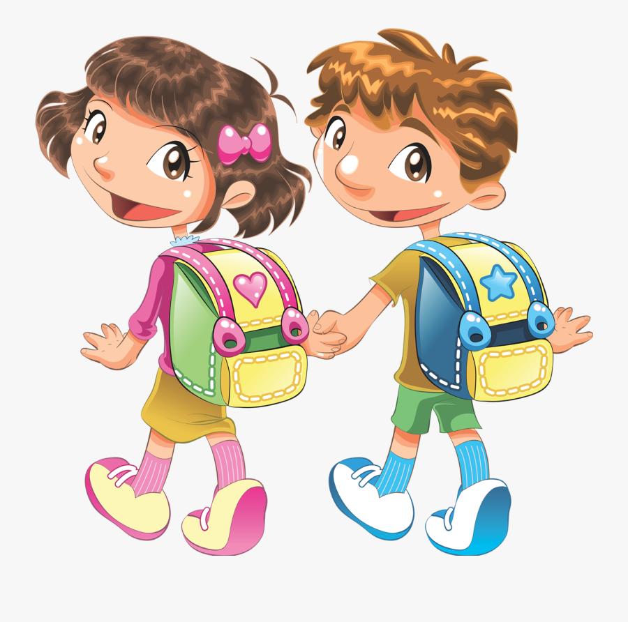 Clip Art Go To School Clipart - Kids Going School Clipart Png, Transparent Clipart