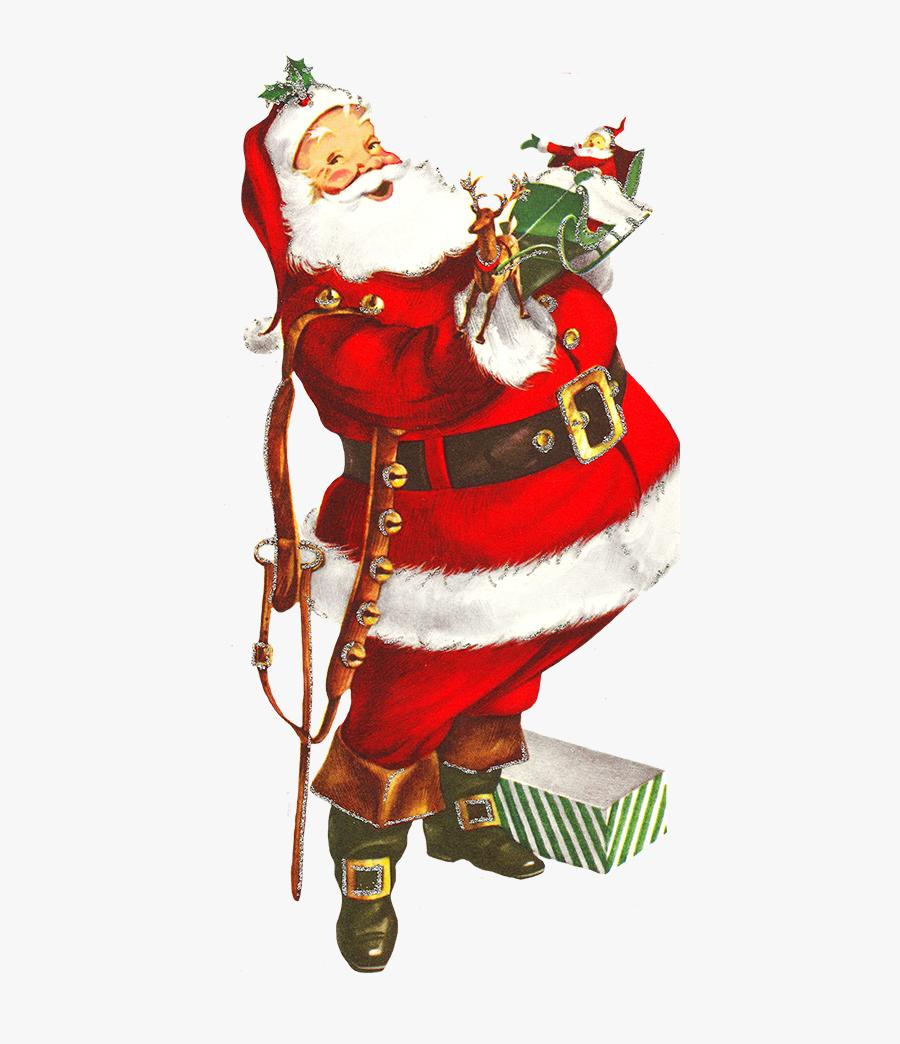 Old Clip Art Of Santa Claus - Vintage Christmas Clipart Png, Transparent Clipart