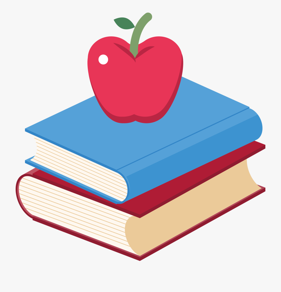 Clip Art Book Royalty Free Stock - Apple On Books Clipart, Transparent Clipart