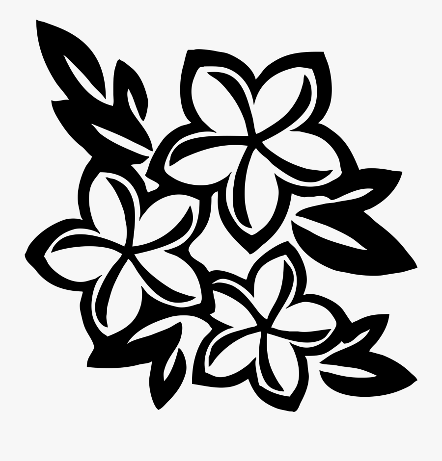 Flower Images Free Download - Black And White Hawaiian Flower Drawing, Transparent Clipart