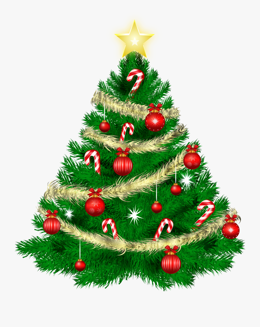 Christmas Tree With Christmas Ornaments And Star Png - Thank You For The Holiday Wishes, Transparent Clipart