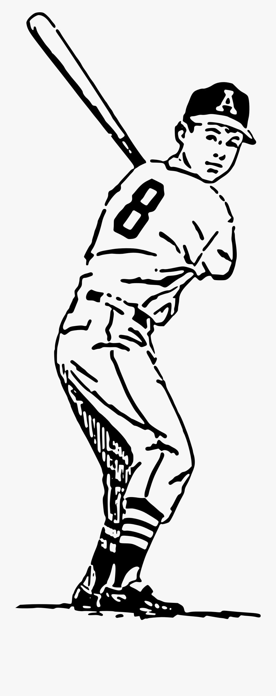 Vintage Sport - Baseball Player Cartoon Drawing, Transparent Clipart