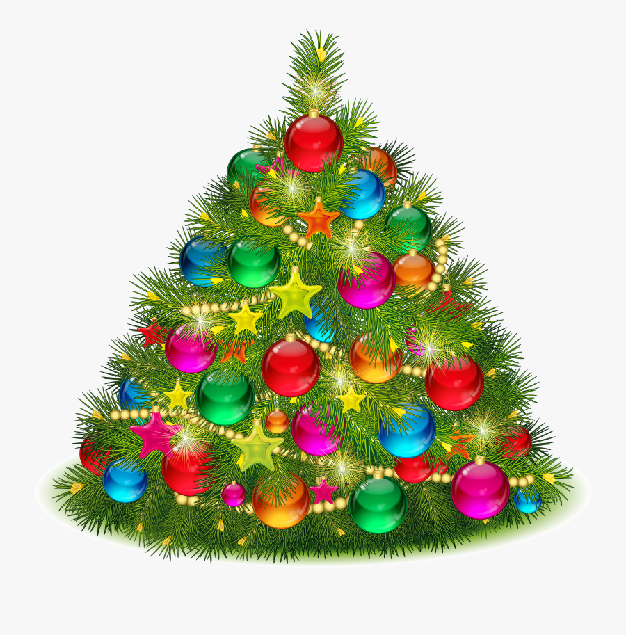 Christmas Tree Cliparts - Decorated Christmas Tree Clipart, Transparent Clipart