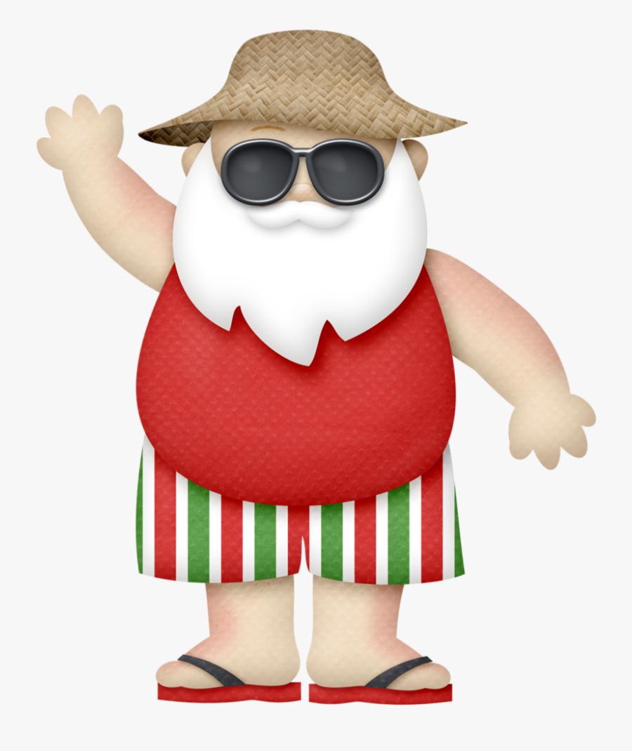 Sunny Holidays - Tropical Santa Claus Png, Transparent Clipart