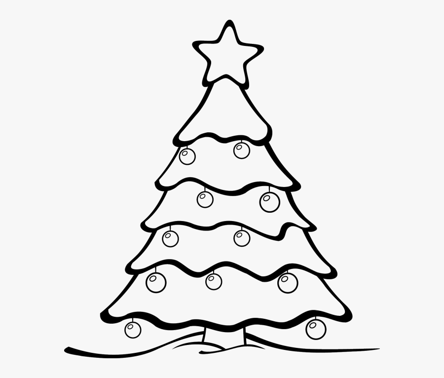 Clip Art Christmas Tree Black And White Free - Christmas Tree Cartoon Drawing, Transparent Clipart