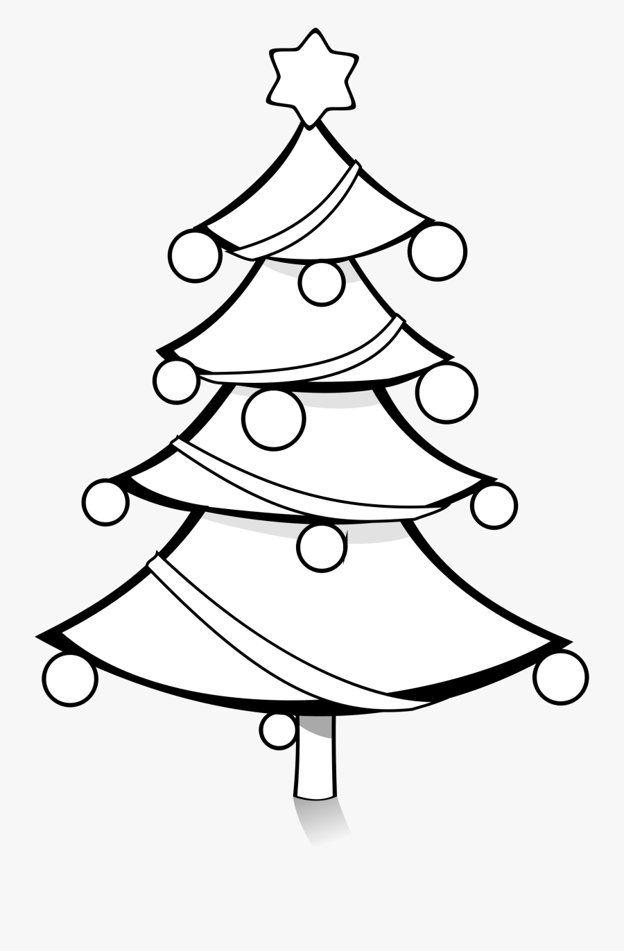 Christmas Tree Black And White Black And White Xmas - Christmas Tree Coloring Clipart, Transparent Clipart