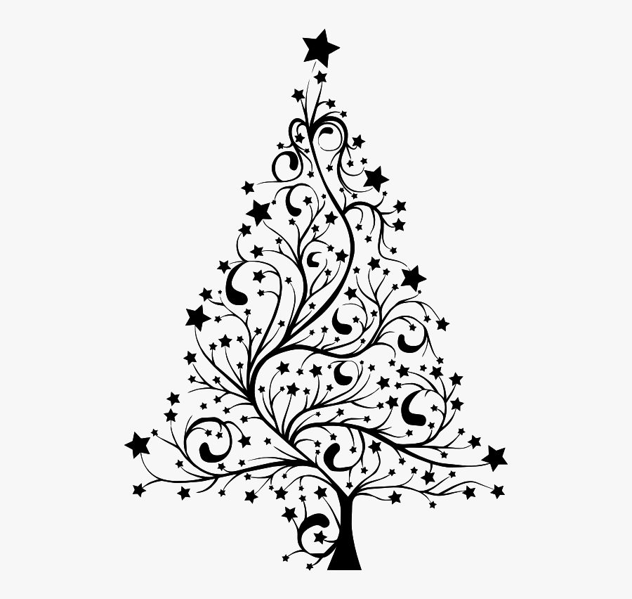 12 Layout Nightmare Before Christmas Xmas Tree Banner - Christmas Trees Black And White, Transparent Clipart