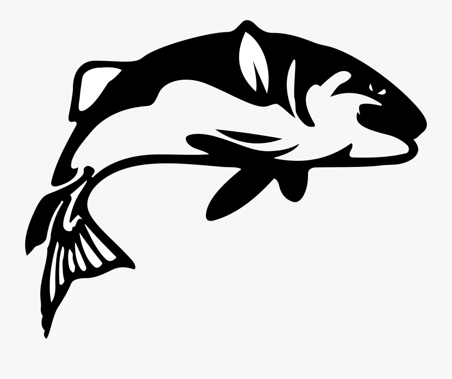 Fish Bass Fishing Clipart Free Best On Transparent - Fish Silhouette, Transparent Clipart