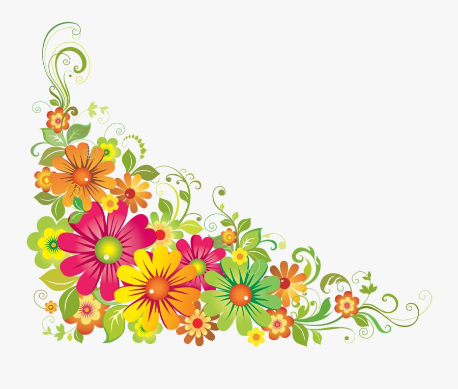 Flores Pink Flowers Clipart - Flower Corner Design Png, Transparent Clipart