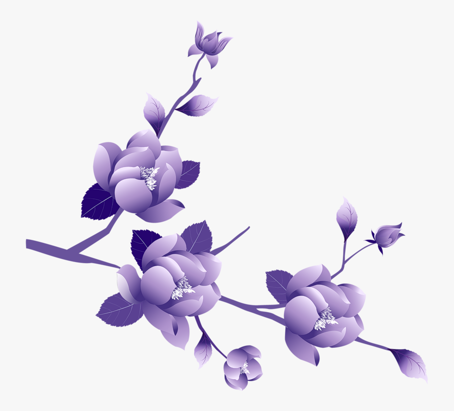 Transparent Painted Large Purple Flower Clipsrt - Purple Flower Gif Png, Transparent Clipart