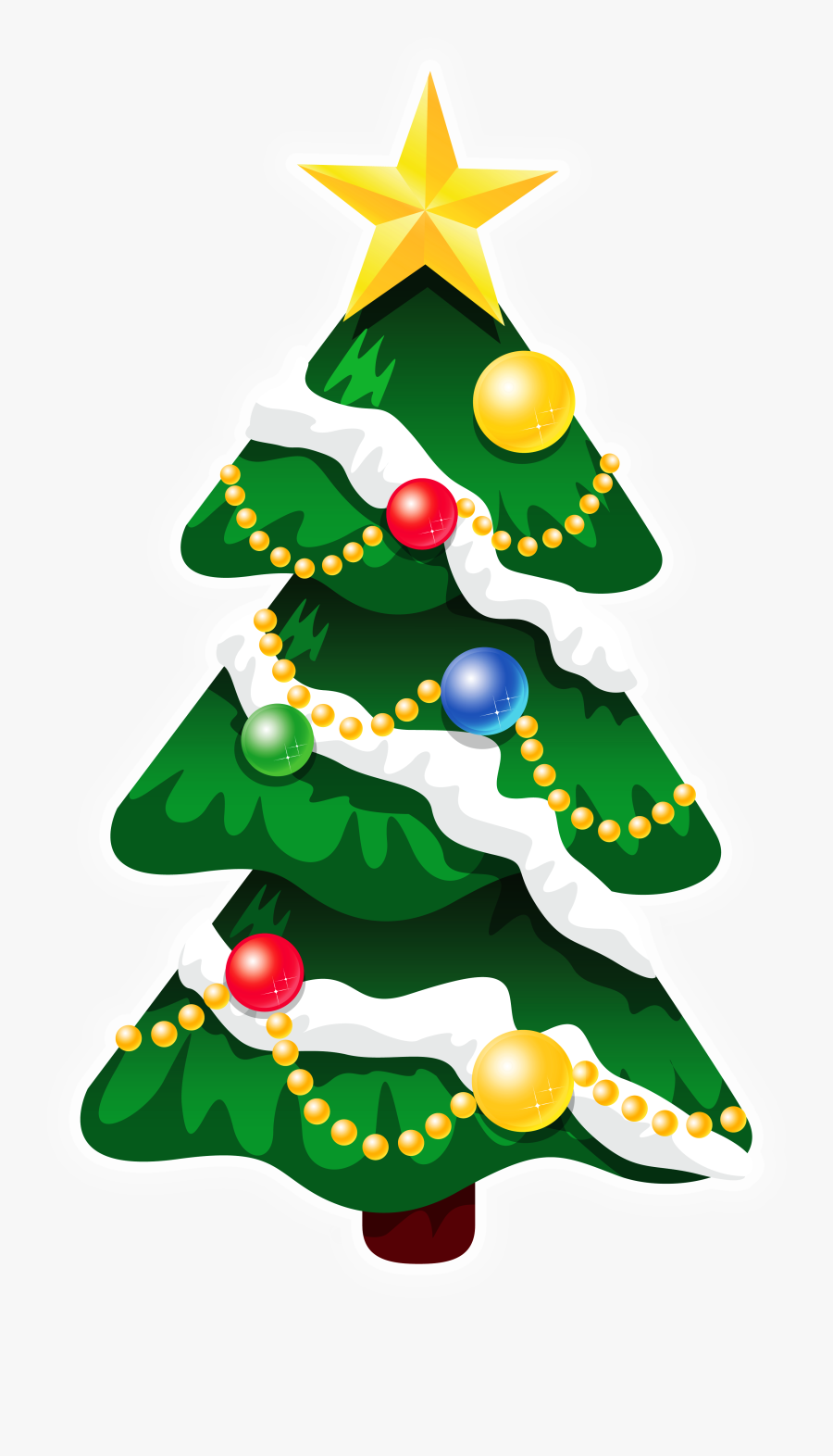 Transparent Snowy Deco Xmas Tree With Star Png Clipart - Christmas Tree Illustration Png, Transparent Clipart