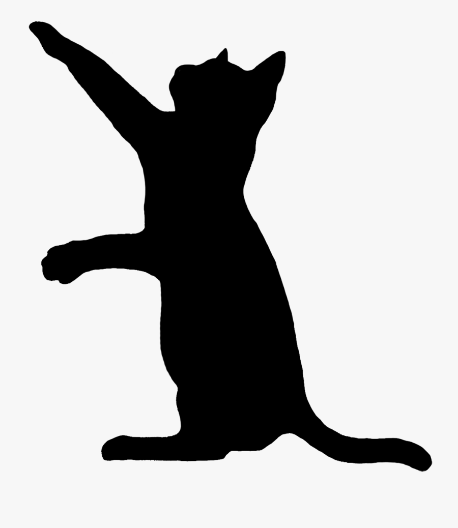 Playing Cat Silhouette, Transparent Clipart