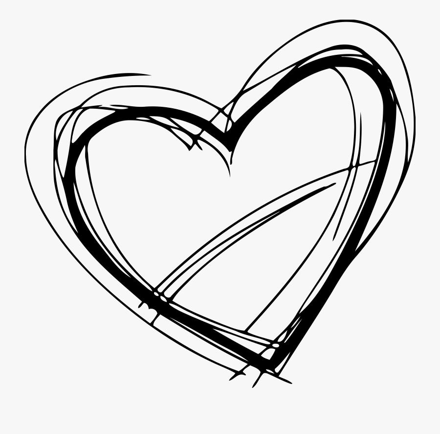 Sketched Heart - Black Heart Sketch Png , Free Transparent ...