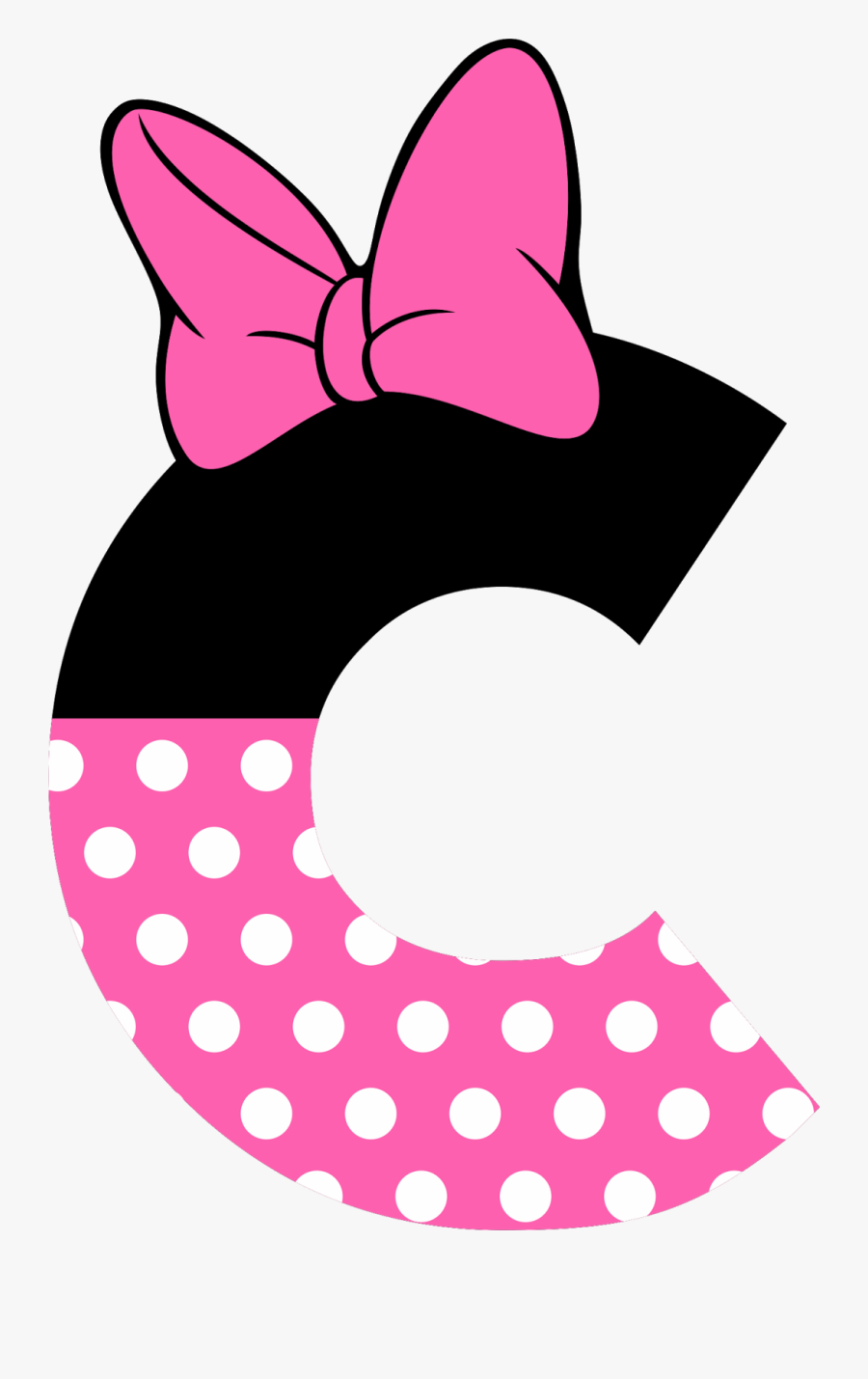Minnie Mouse Pink Bow Png - Minnie Mouse Letters, Transparent Clipart