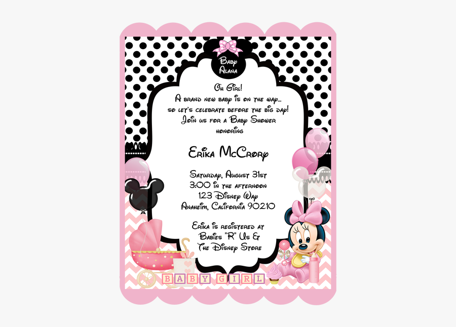 Clip Art Baby Shower Minnie Mouse Invitations - Minnie Baby, Transparent Clipart